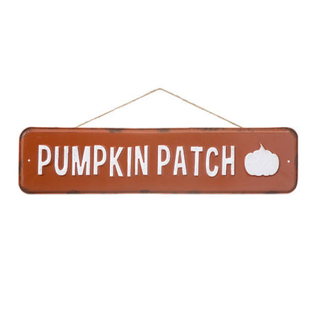 orange metal pumpkin patch sign