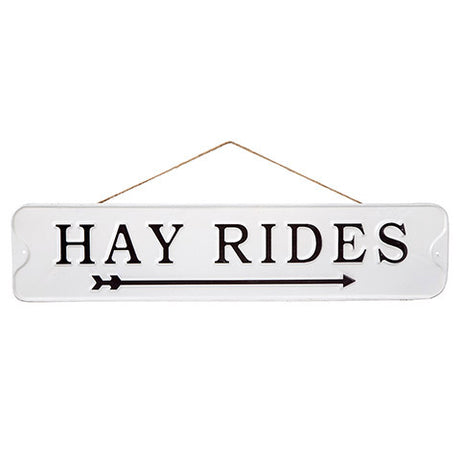 white metal hay rides sign