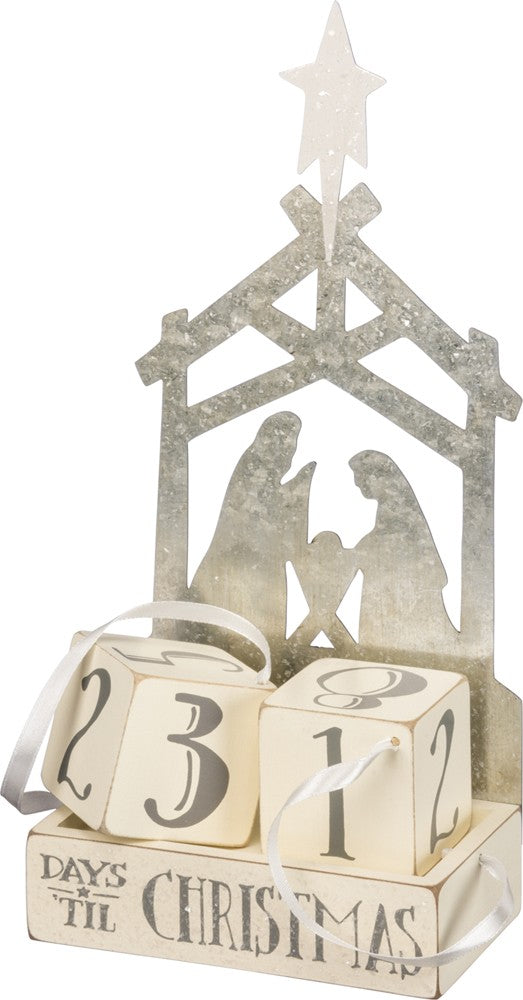 metal nativity advent calendar with wooden block calendar