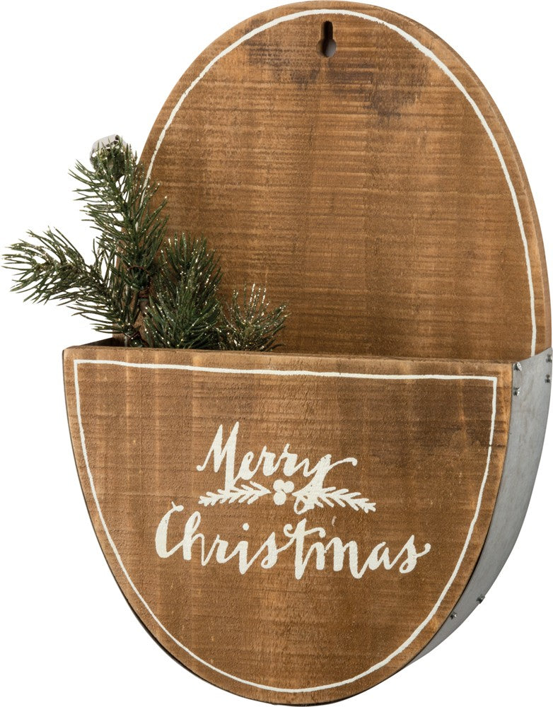 oval metal and wood wall pocket with words Merry Christmas
