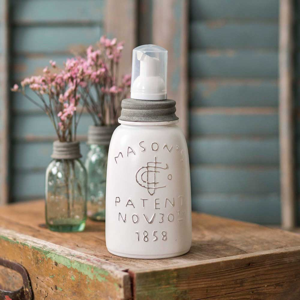 white wash midget pint jar with foaming soap dispenser