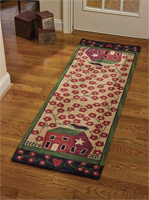 "Red House Hooked Rug Runner - 24"" x 72"""