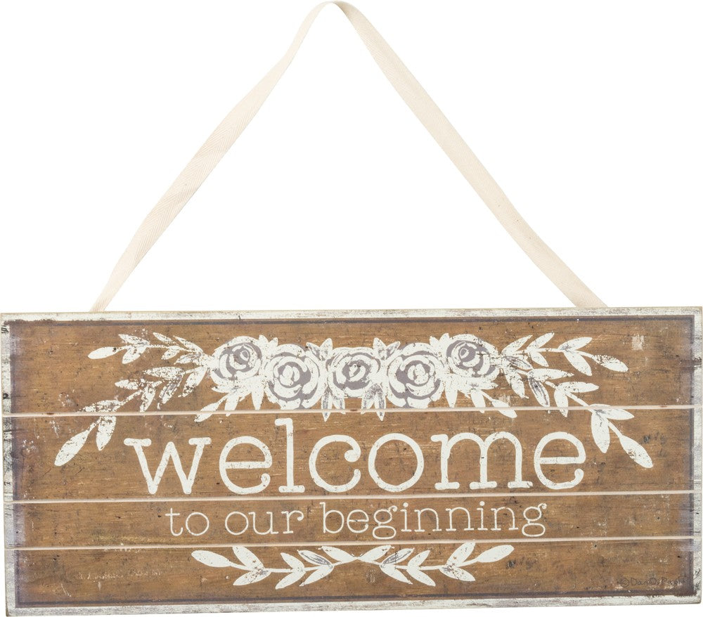 wedding slat sign welcome to our beginning