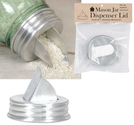 Mason Jar Aluminum Grain Dispenser Lid (set of 4)