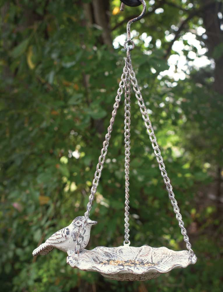 white washed cast iron hanging bird feeder