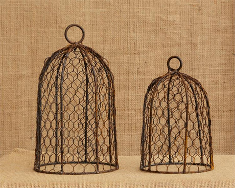set of 2 rusty black chicken wire domes
