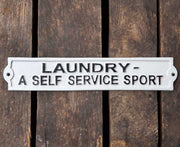 cast iron sign laundry a self service sport