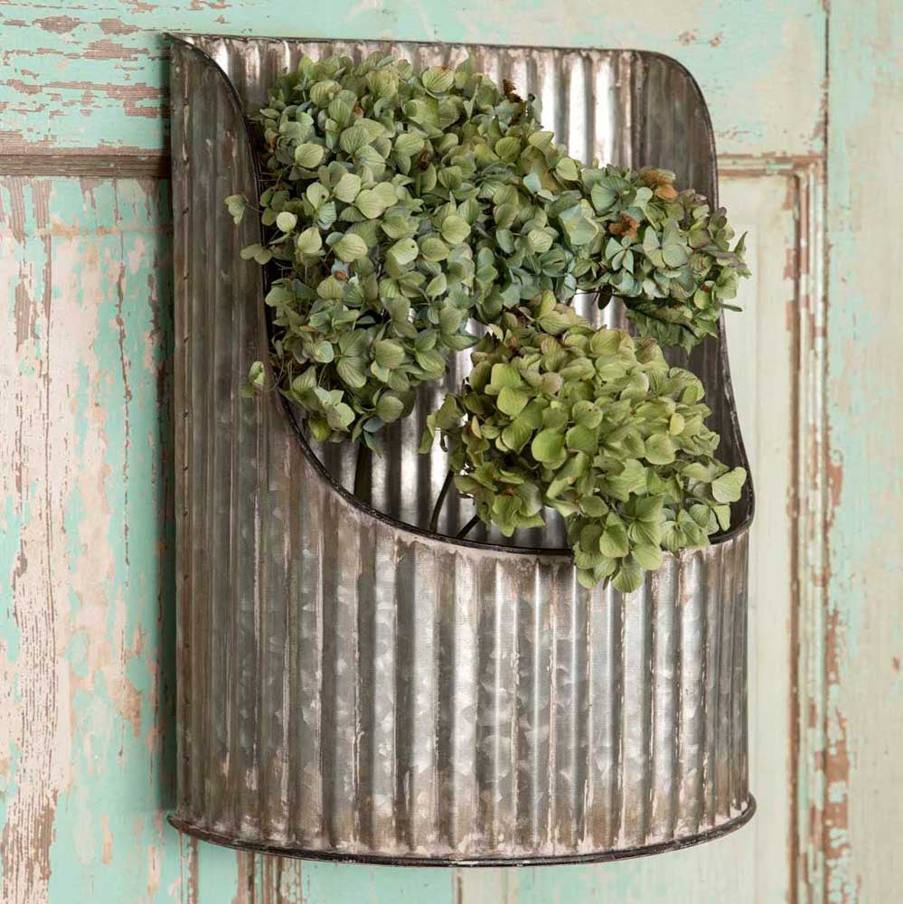Corrugated Half-Round Wall Bin / Metal Wall Hanging / Industrial Farmhouse