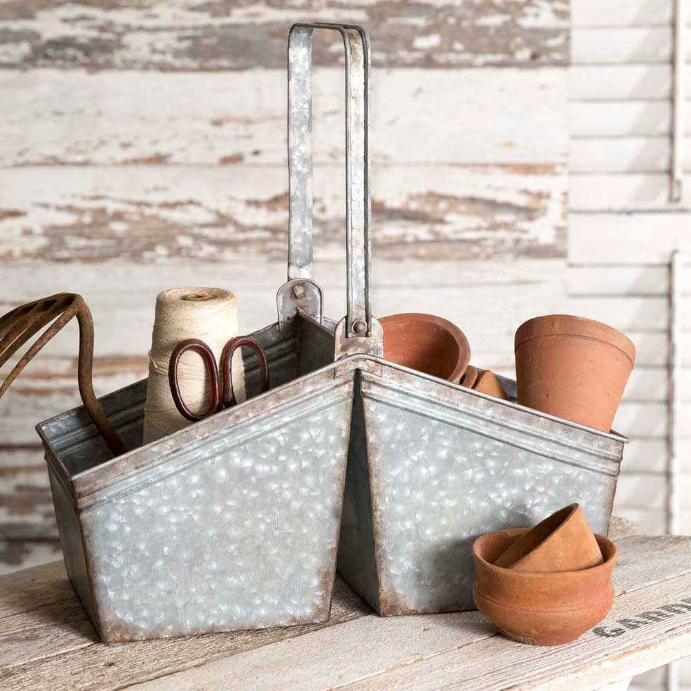 galvanized picking basket with handle