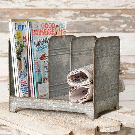 galvanized magazine rack with four compartments