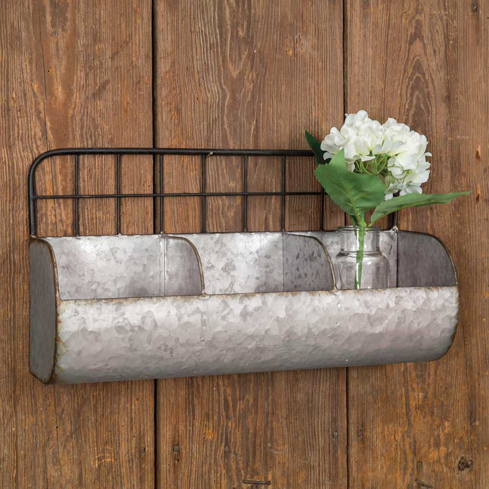 Galvanized Metal Wall Bin With Wire Back - Large
