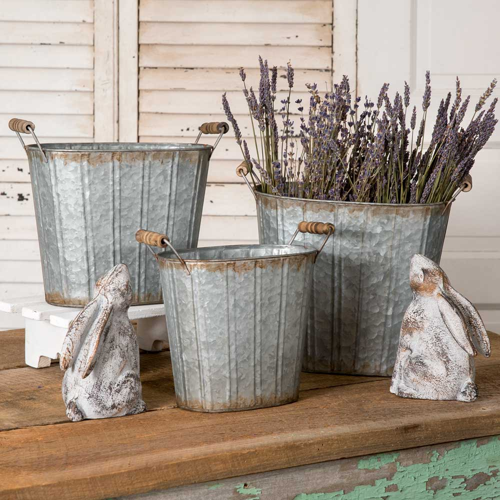 Set of Three Galvanized Tapered Oval Pails with Wood Handles