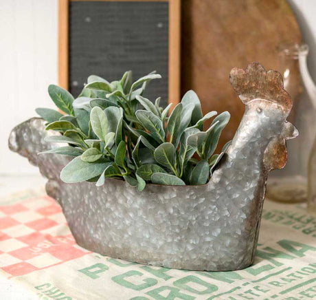 galvanized rooster planter