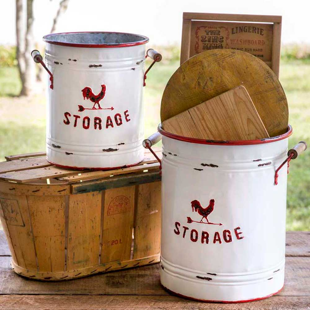 set of two white enameled metal storage tins with red rooster