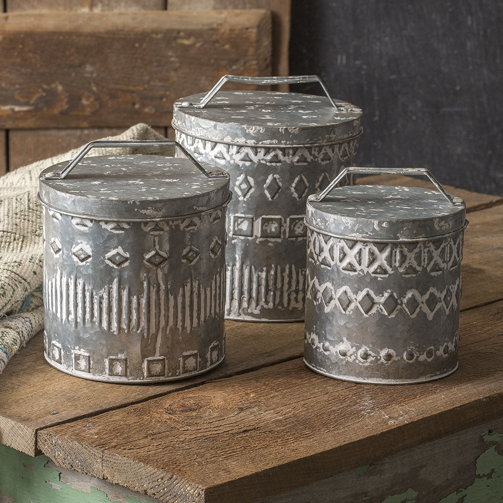 set of 3 tin patterned canisters