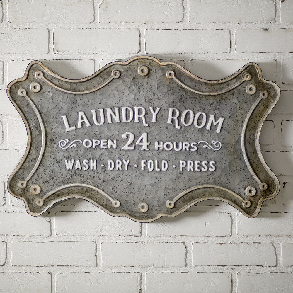 gray metal vintage laundry room sign