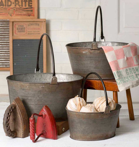 set of 3 round metal buckets with handles