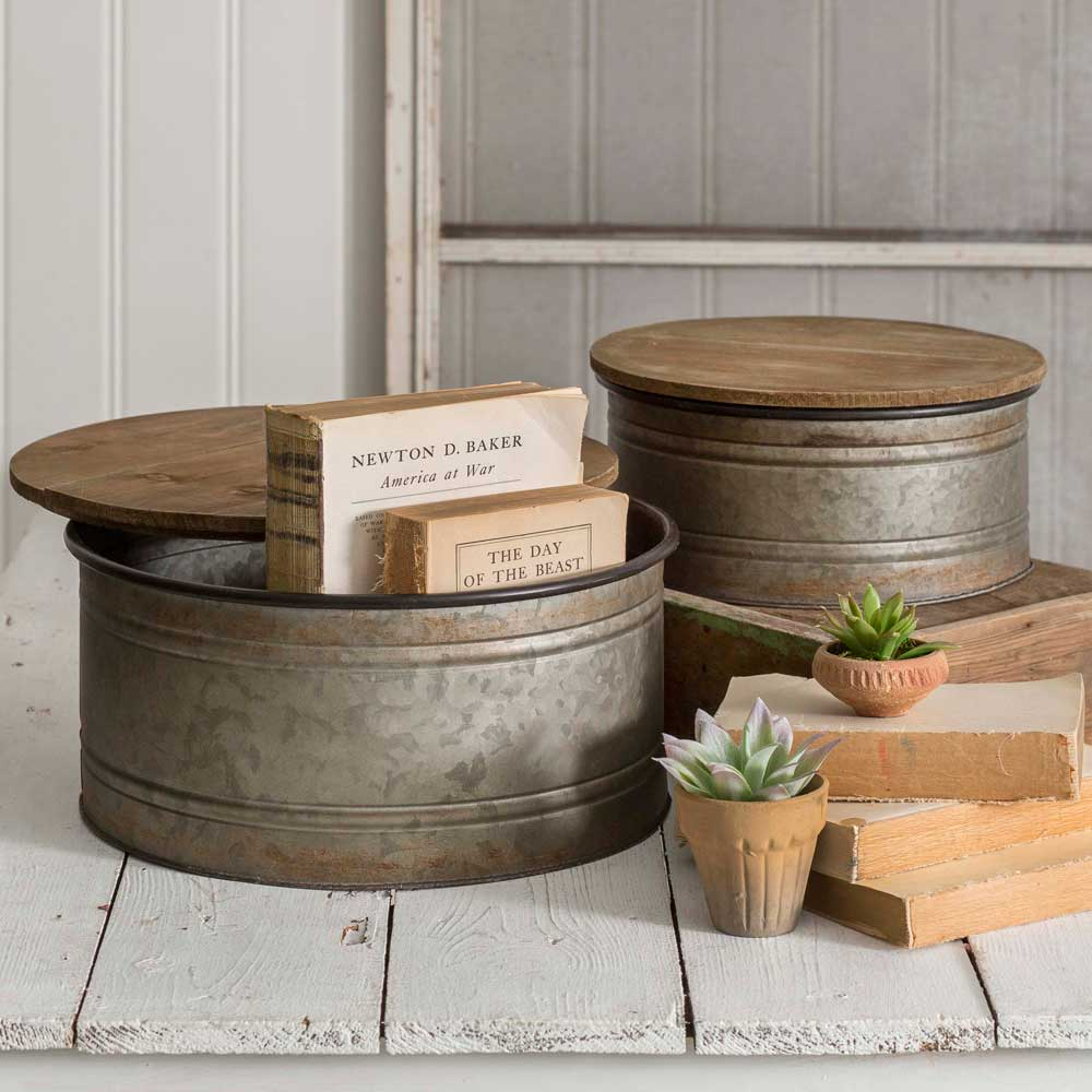 set of two round metal bins with wooden lids
