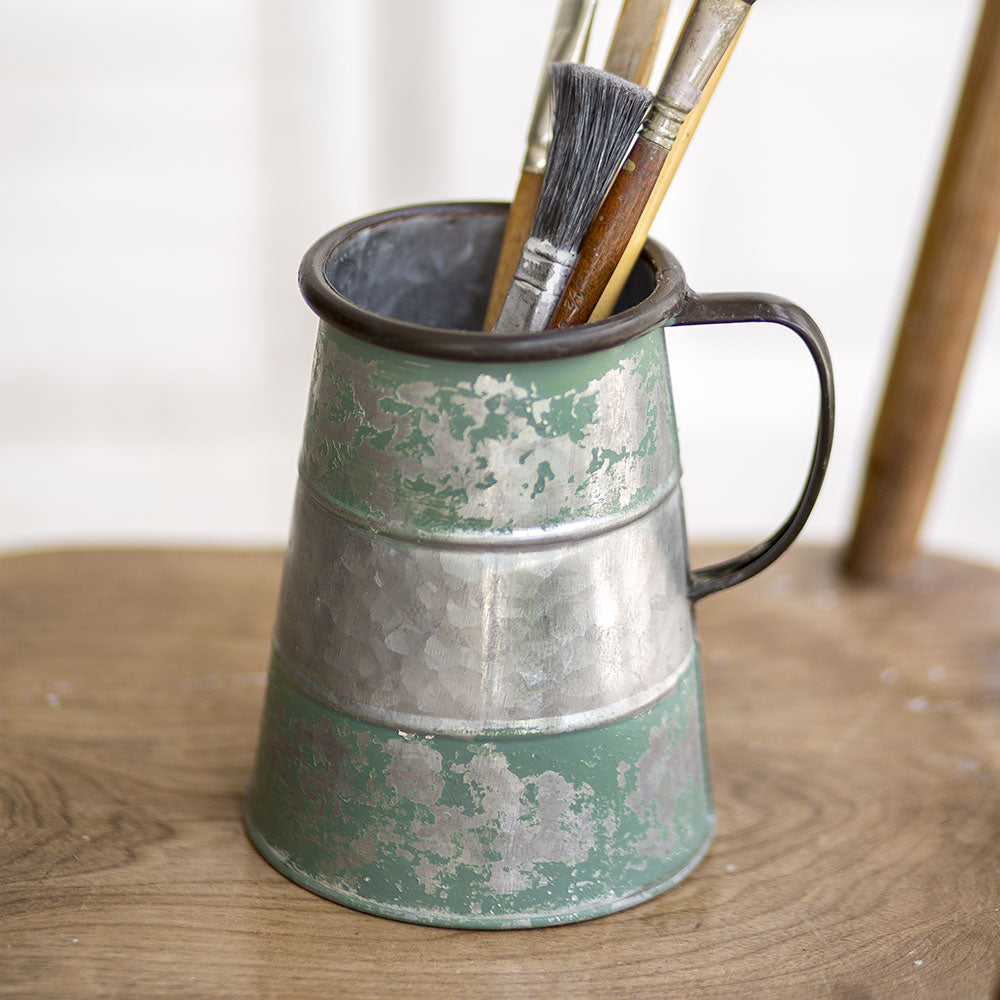 distressed green and galvanized tavern mug with handle