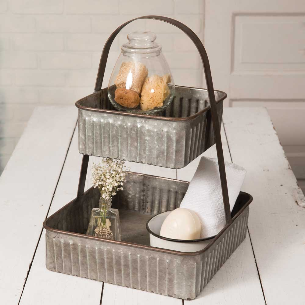 Galvanized Two-Tier Square Tray Stand
