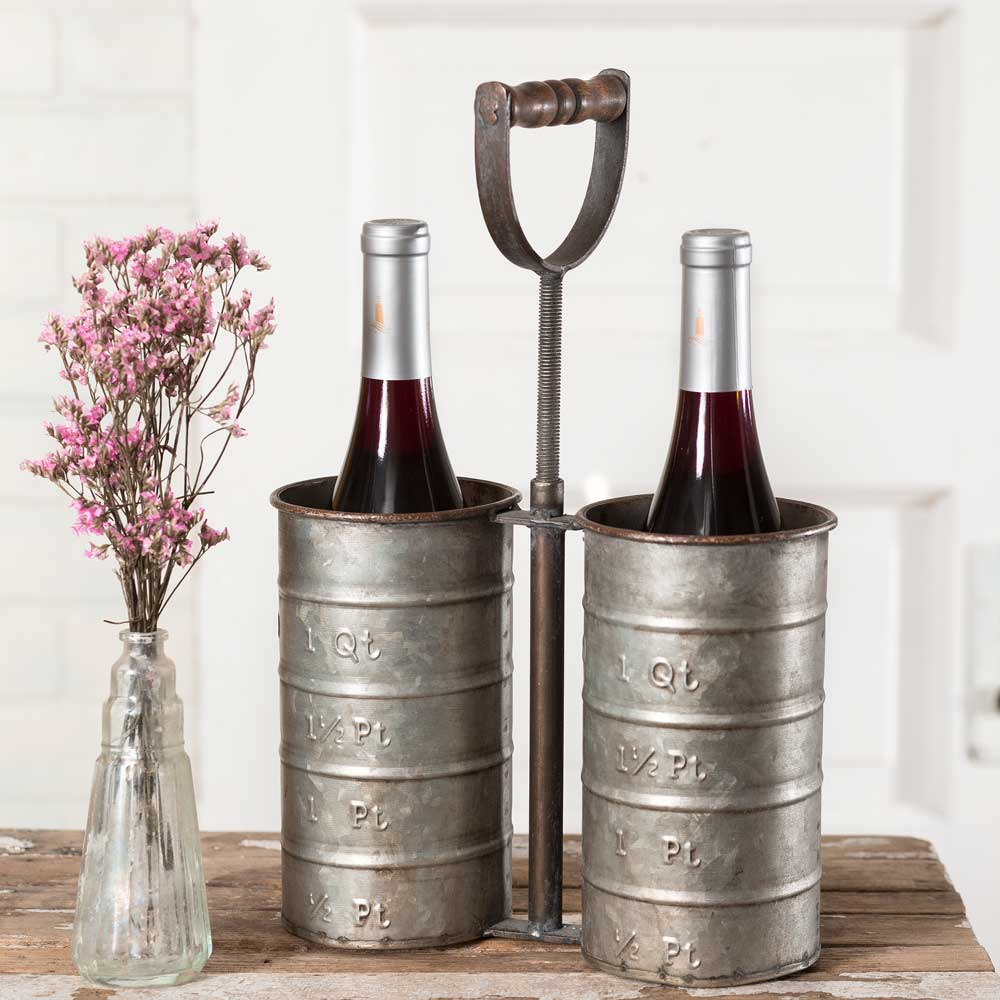 Double Bottle Caddy with Handle Industrial Farmhouse Style