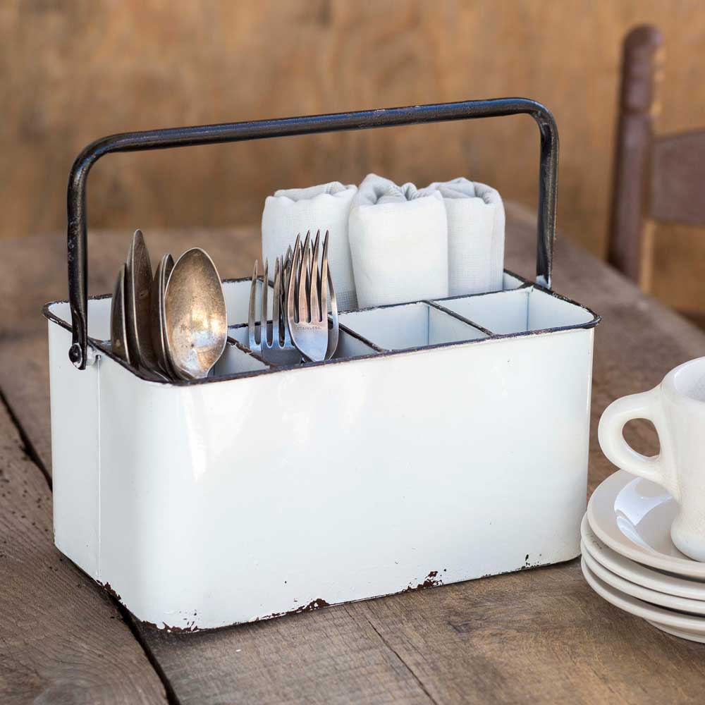 white metal cutlery caddy