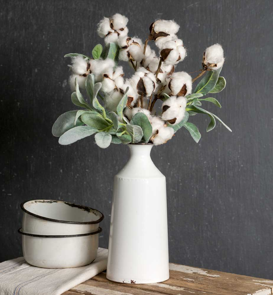 enamelware milk bottle vase