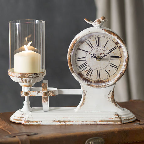 balance scale style clock and candle holder