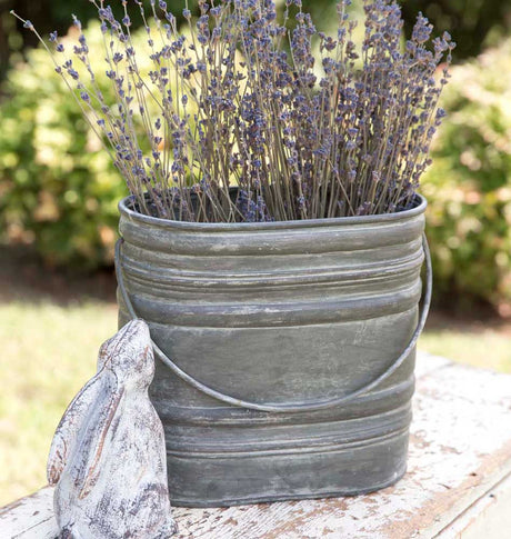 galvanized metal bucket perfect for containing stems and greenery