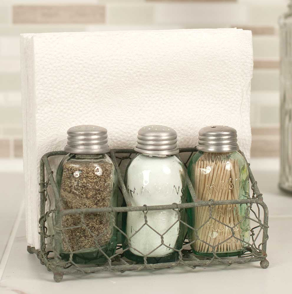 Chicken Wire Salt Pepper and Napkin Caddy - Barn Roof