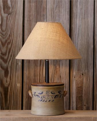 lamp with old crock base