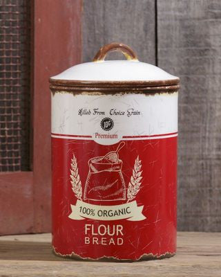 "Flour canister with white and red retro design  and ""flour + bread"" written across front"