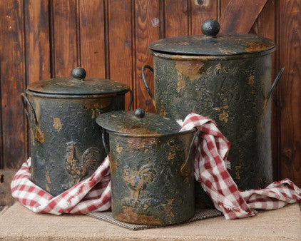 Rooster Canister Set with Lids Rustic Chippy Paint