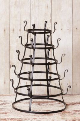 Metal Glass Rack with Hooks / Vintage / Country / Farmhouse