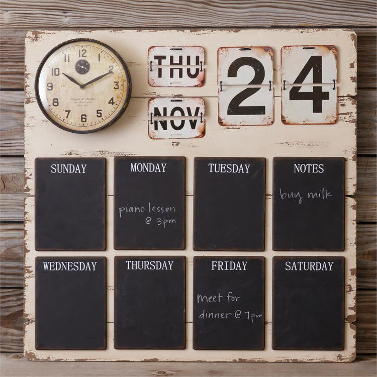 Captivating Chalkboard Wall Calendar / Clock Vintage Style Pictures