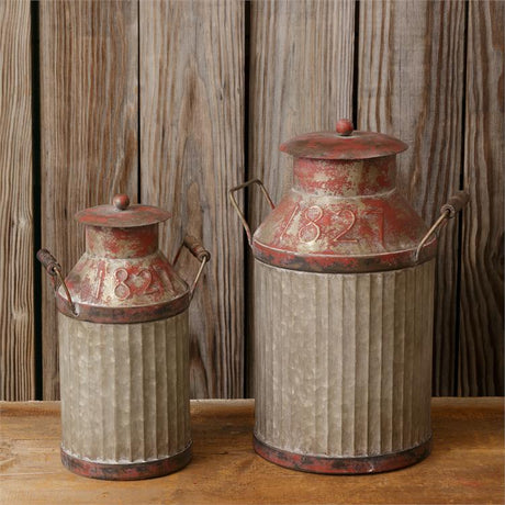 set of 2 milk cans with burgundy accents