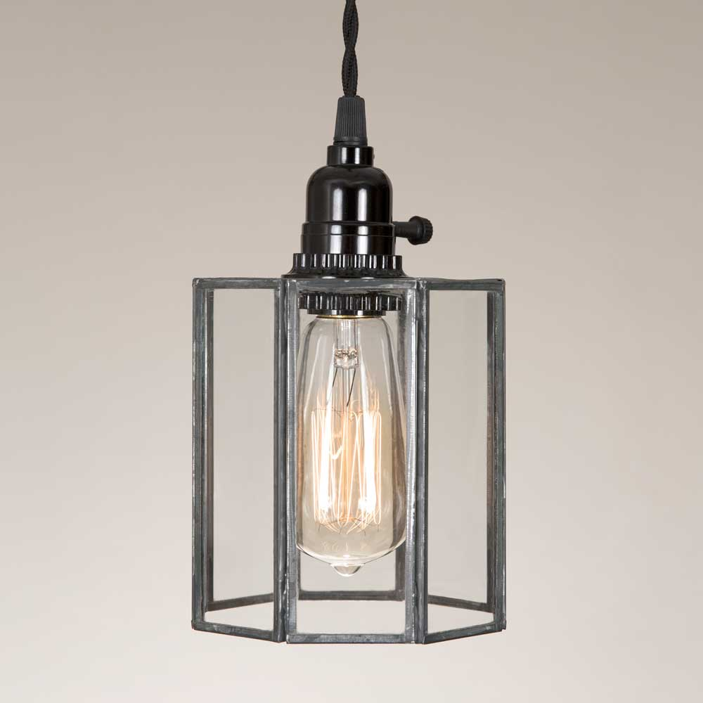 glass and metal plug in pendant lamp