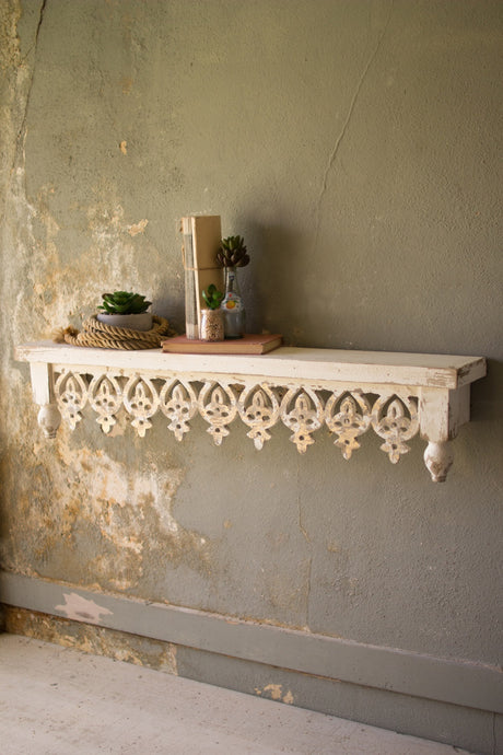 HAND CARVED WOODEN SHELF