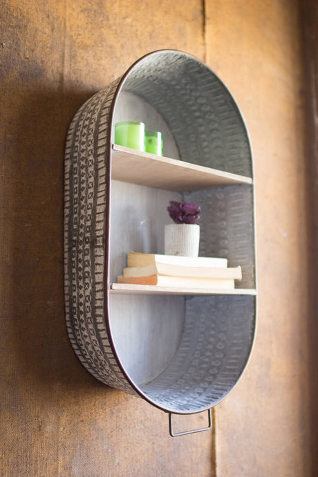 METAL WASH TUB WALL SHELF