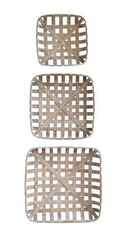 square reproduction tobacco baskets set of three