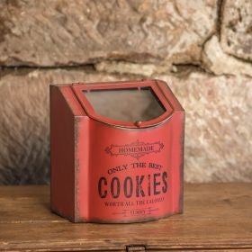 vintage red metal cookie tin