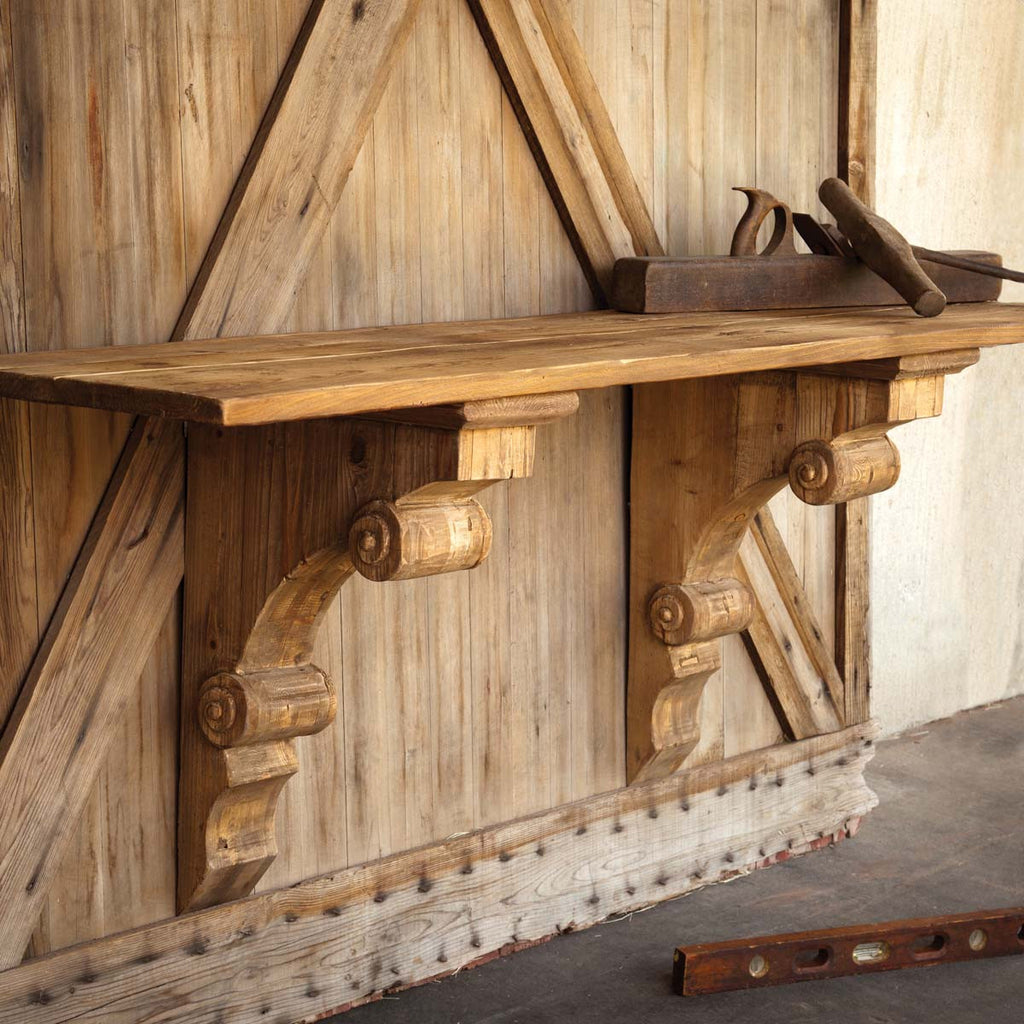 WOODEN BRACKET CONSOLE SHELF TABLE