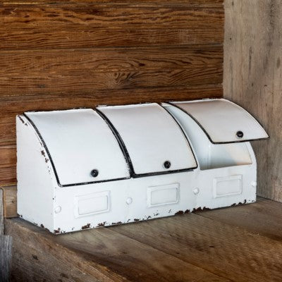 white metal kitchen bins