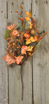 fall floral pick with leaves berries and pumpkins