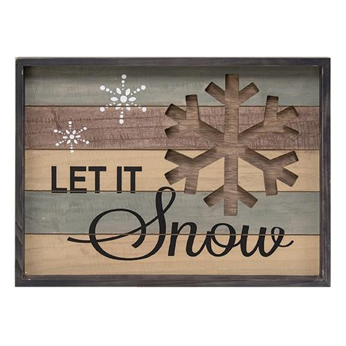 "wooden framed signed with winter phrase ""let it snow"" and cutout wooden snowflake"