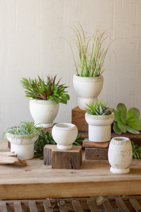 set of six white clay pots