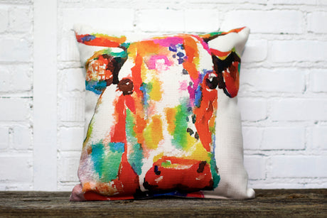 COLORFUL COW Square Linen Farmhouse Throw Pillow