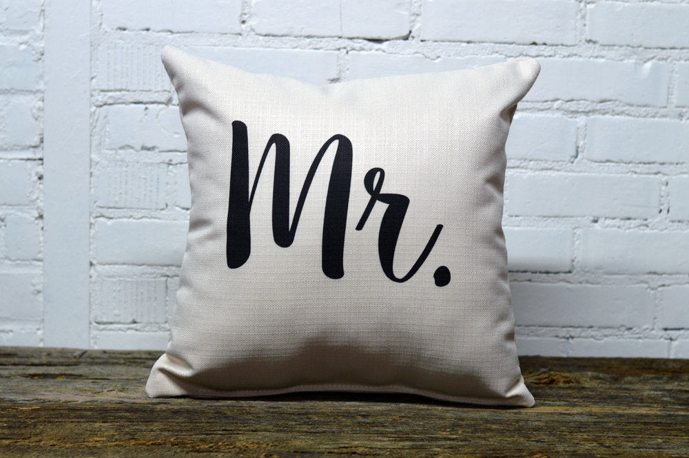 MR square Linen Farmhouse Throw Pillow