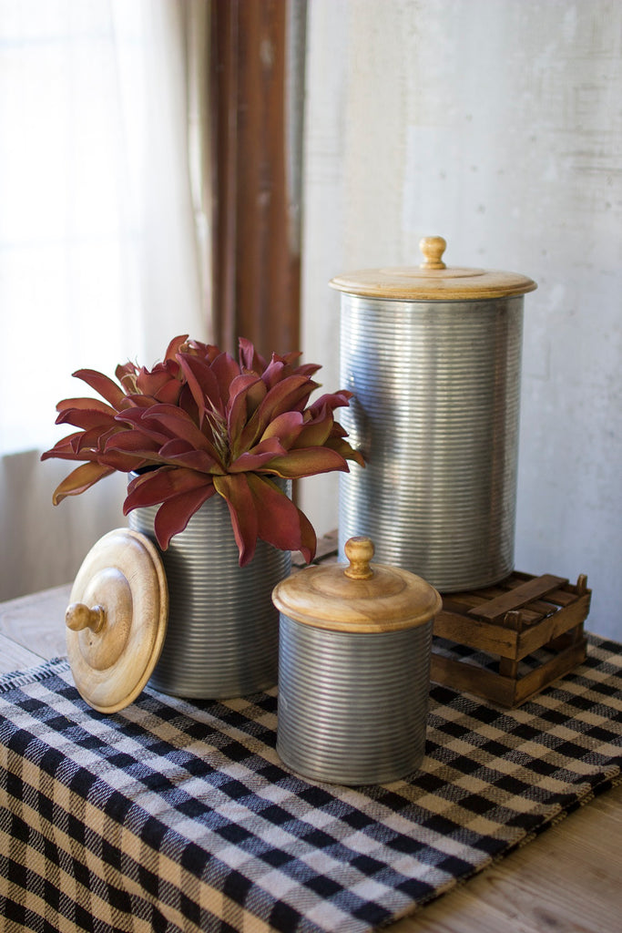 set of 3 galvanized canisters with wooden tops