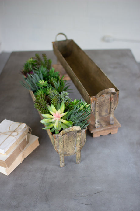 SET OF 2 OBLONG METAL PLANTERS